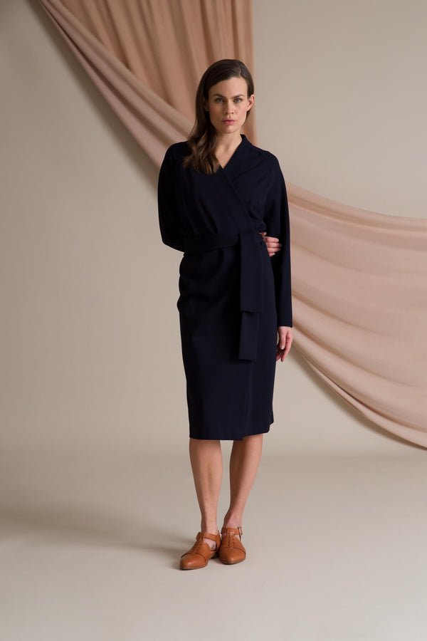 ABBEY Wrap Dress navy