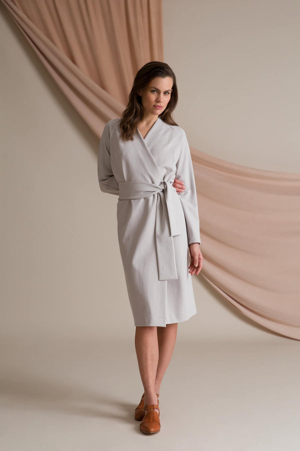 ABBEY Wrap Dress pearl grey
