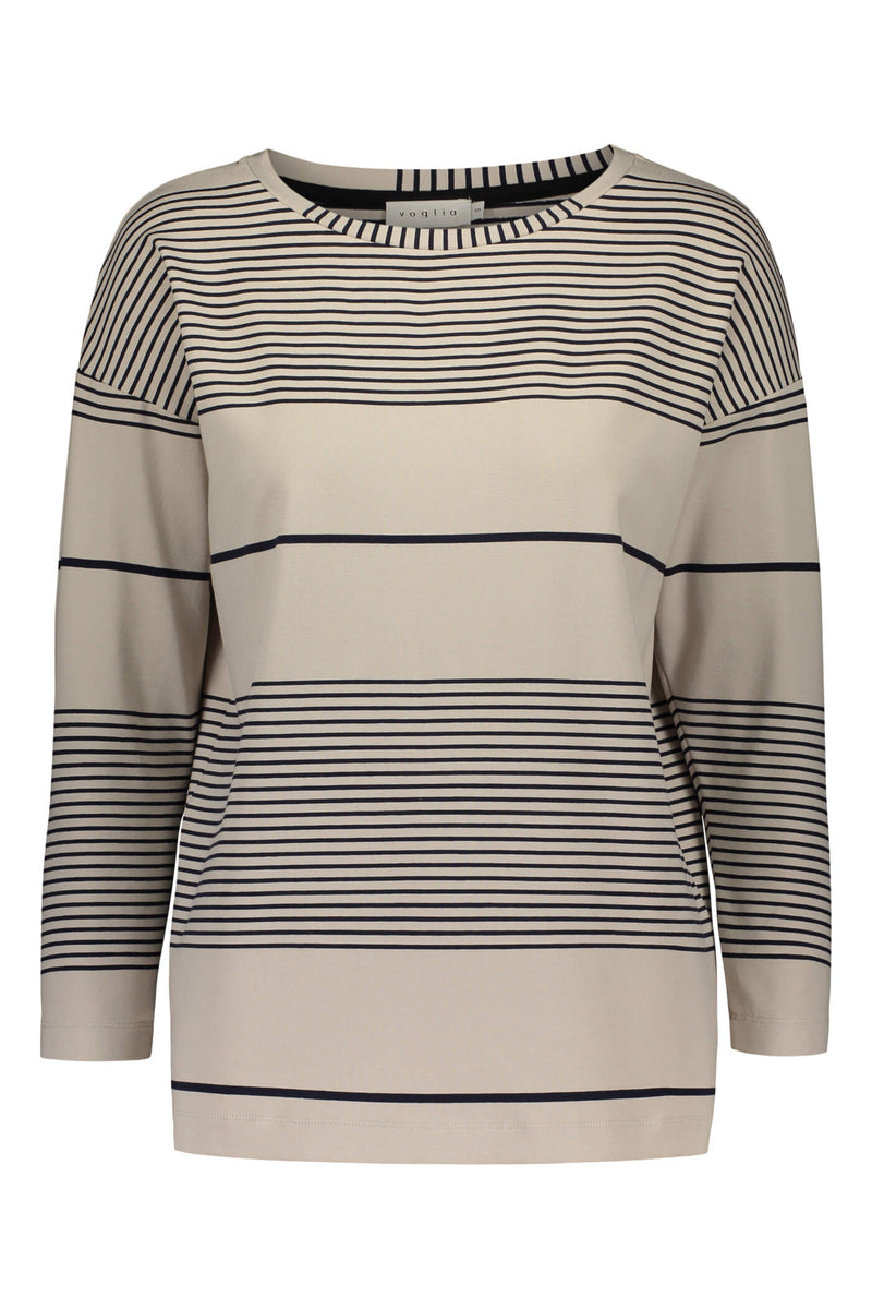 Ada striped jersey top grey/ navy front
