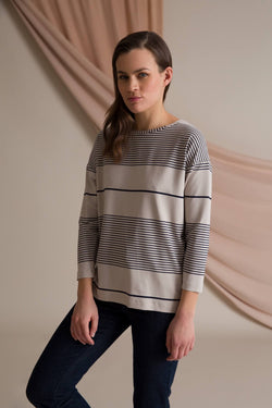 Ada striped jersey top grey/ navy