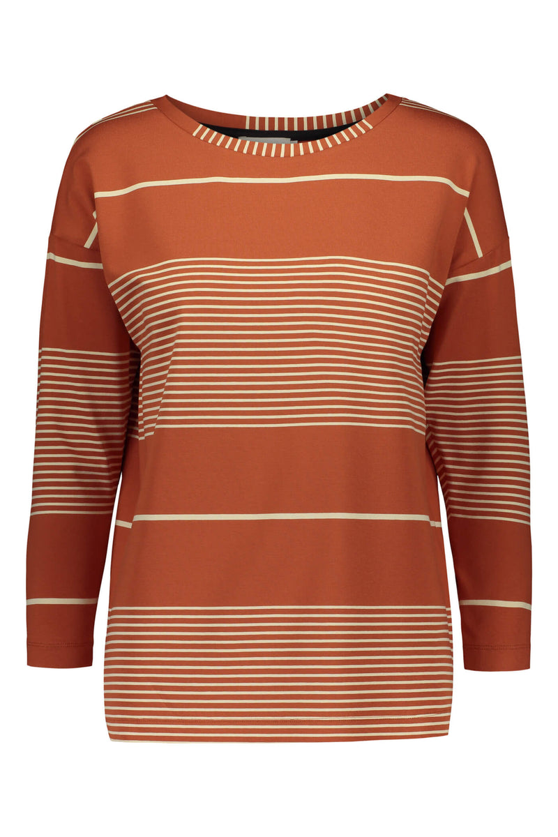 Ada striped jersey top terra/ linen front