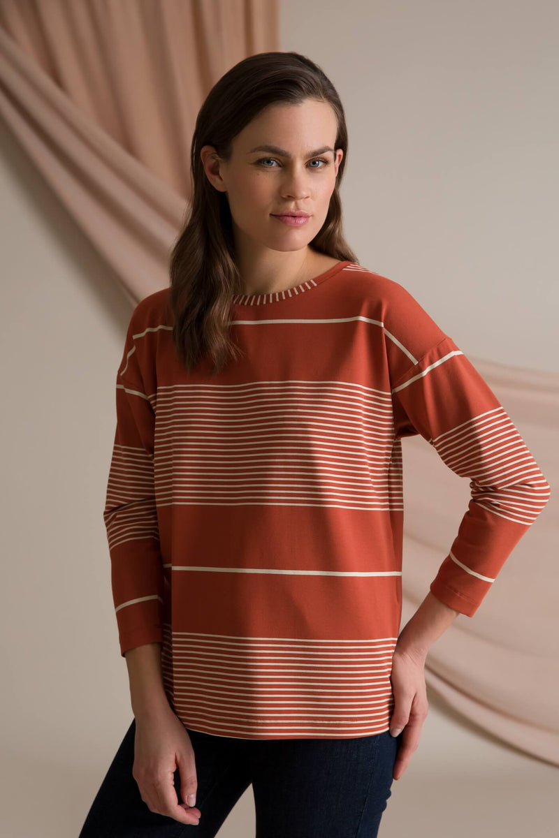 Ada striped jersey top terra/ linen