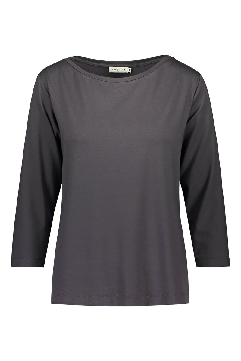 ADALINA ¾ Sleeve Top dark grey front