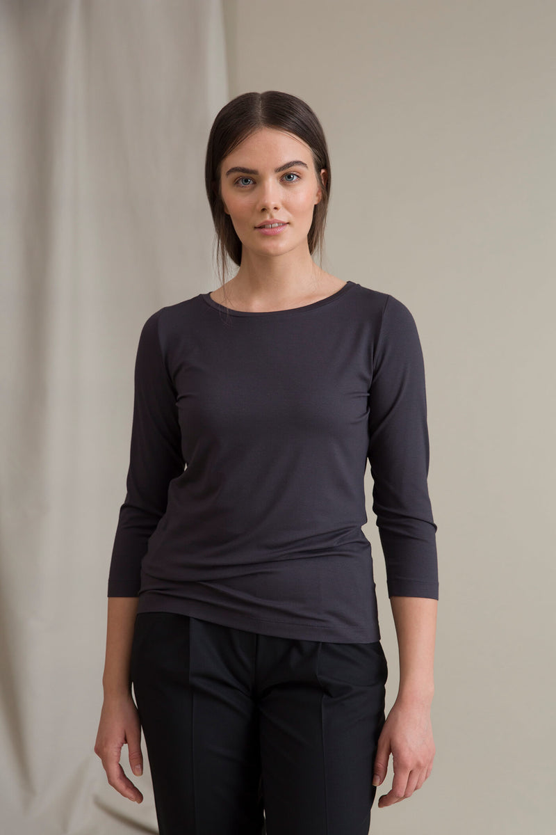 ADALINA ¾ Sleeve Top dark grey