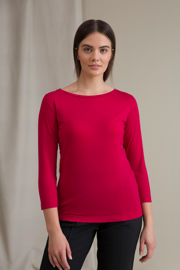 ADALINA ¾ Sleeve Top raspberry red