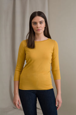 ADALINA ¾ Sleeve Top yellow