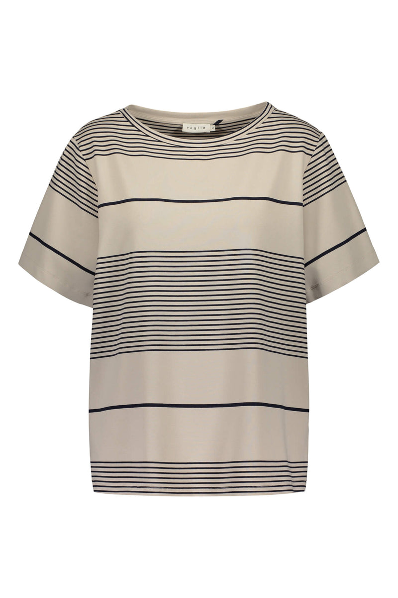 Agnes stripy t-shirt grey/ navy front