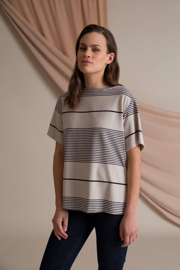Agnes stripy t-shirt grey/ navy