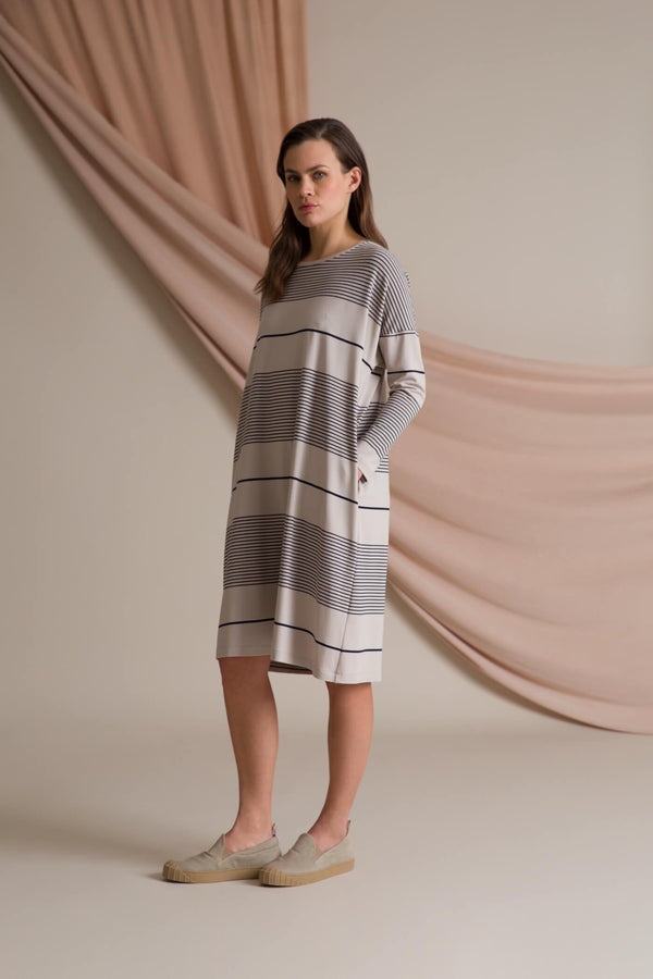 Alba striped jersey dress grey/ navy