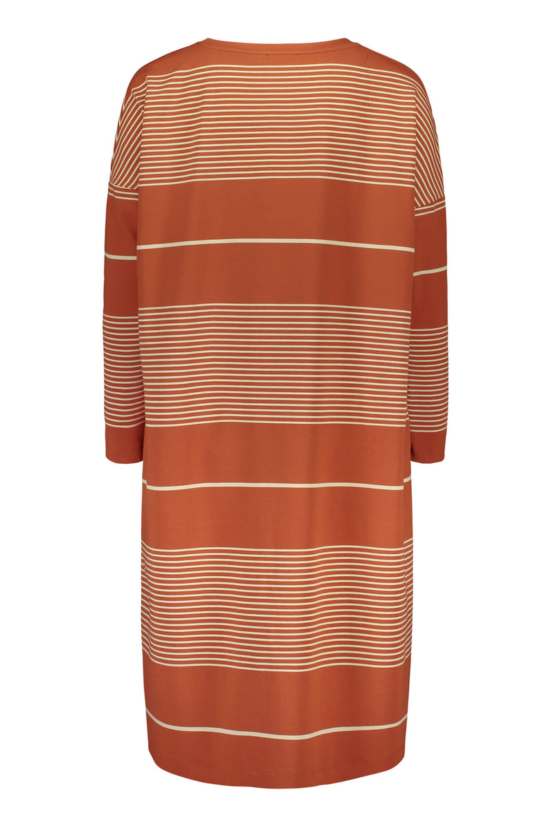 Alba striped jersey dress terra/ linen back