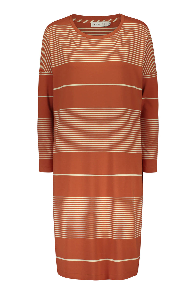 Alba striped jersey dress terra/ linen front