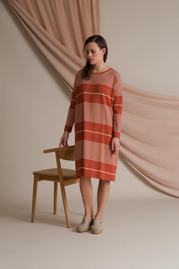 Alba striped jersey dress terra/ linen