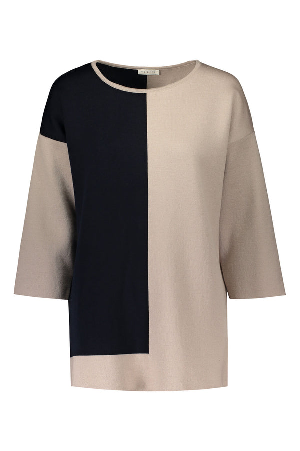 ALMA Colour Block Jumper navy-beige front