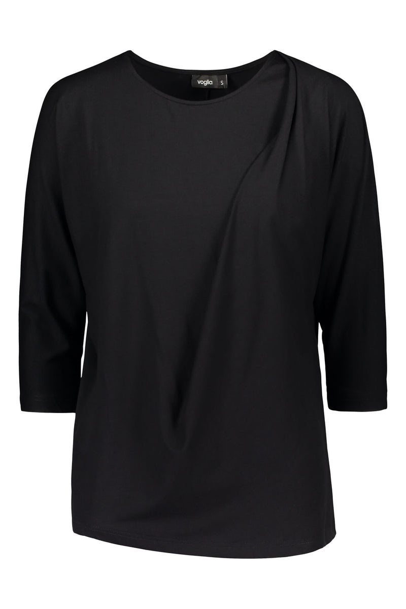 Amelie batwing loose top black front