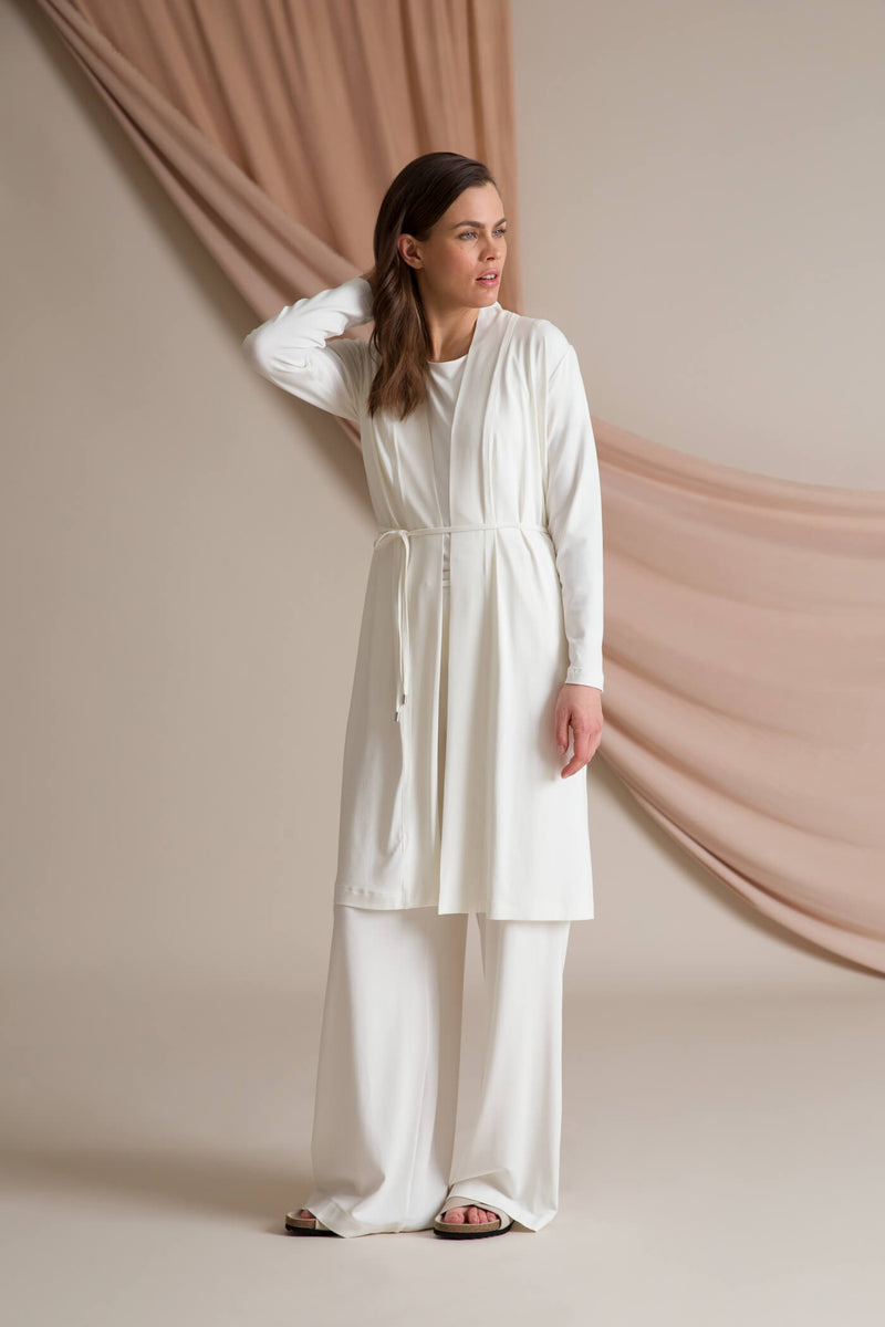 Annabella wide jersey pants soft white outfit
