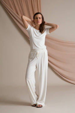 Annabella wide jersey pants soft white