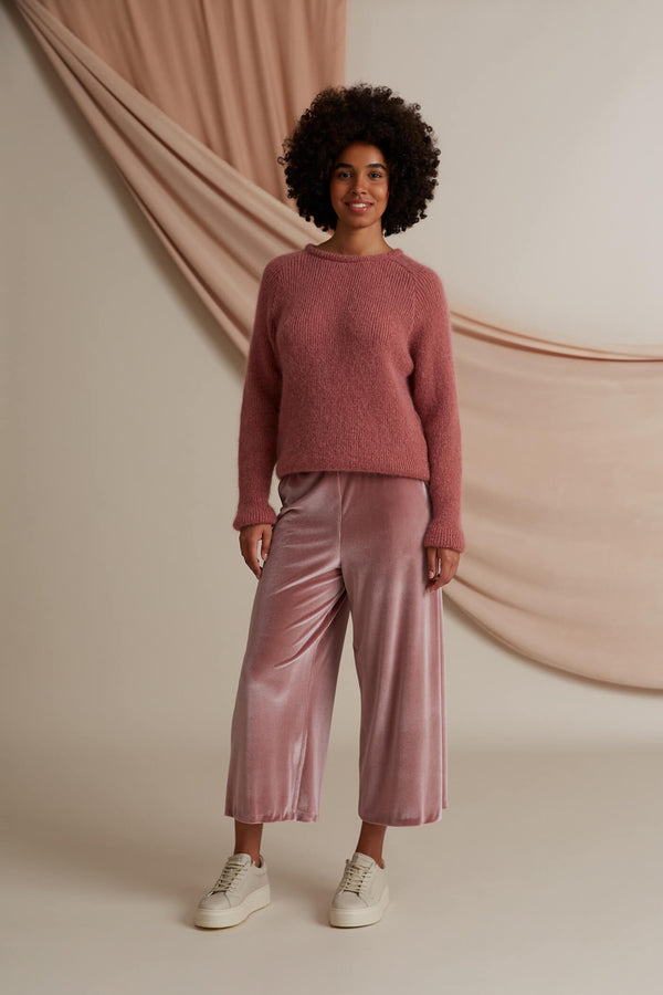 Annika velvet culottes heather pink