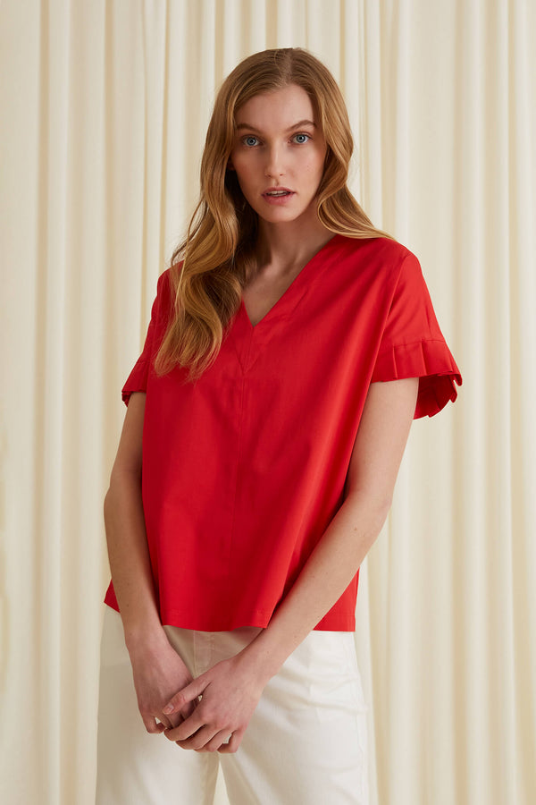 BELLE Pleat Sleeve Blouse red