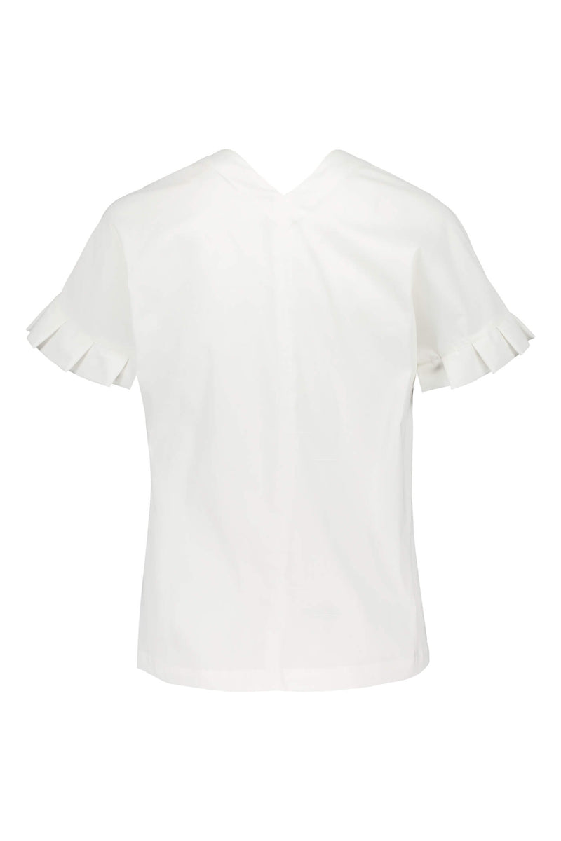 BELLE Pleat Sleeve Blouse soft white back