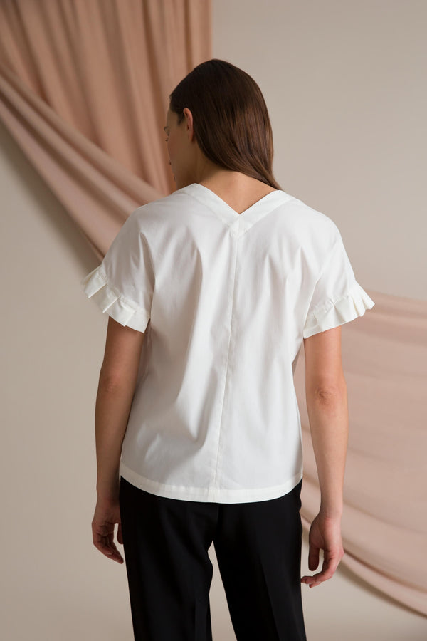 BELLE Pleat Sleeve Blouse soft white behind