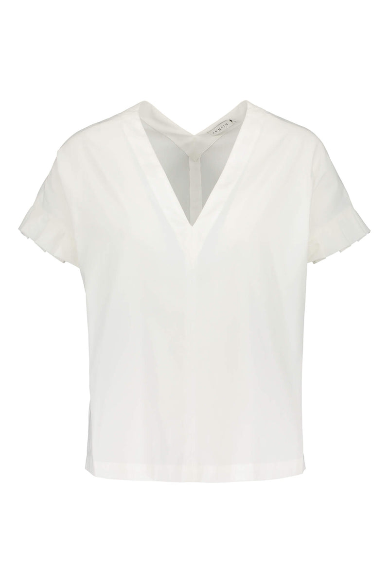BELLE Pleat Sleeve Blouse soft white front