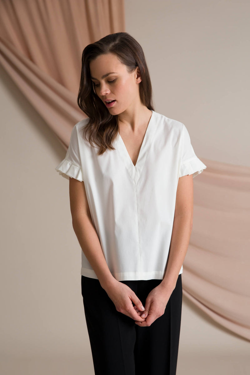 BELLE Pleat Sleeve Blouse soft white