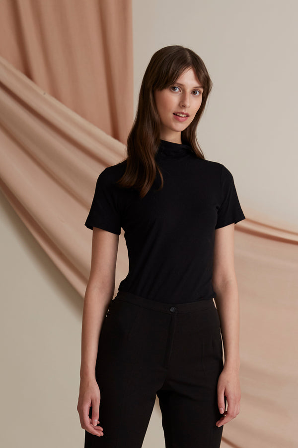 Black turtleneck t-shirt