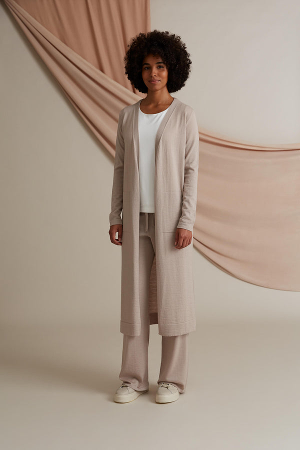 Cassie long cardigan merino wool cafe latte