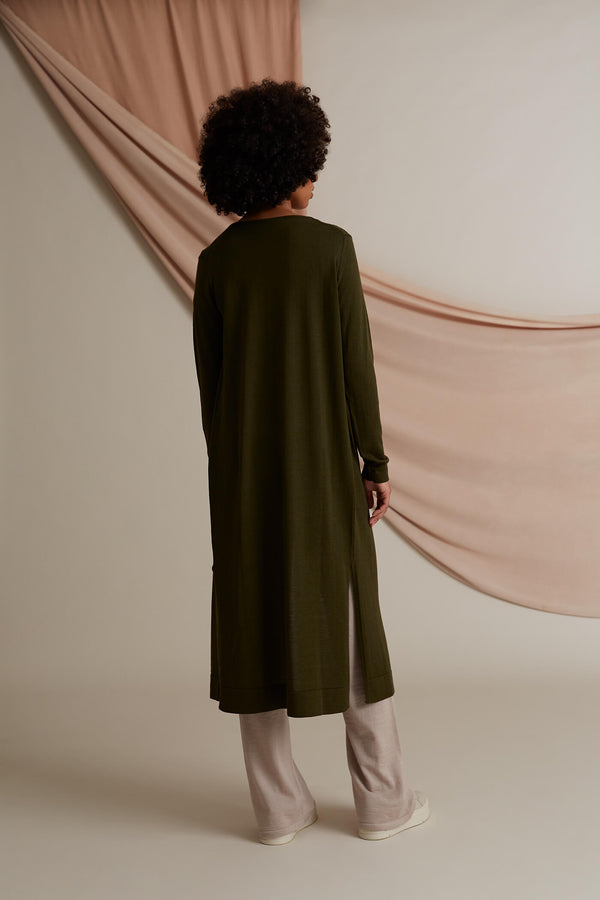 Cassie long cardigan merino wool pine green behind