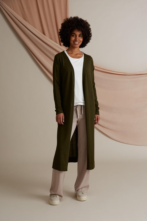 Cassie long cardigan merino wool pine green