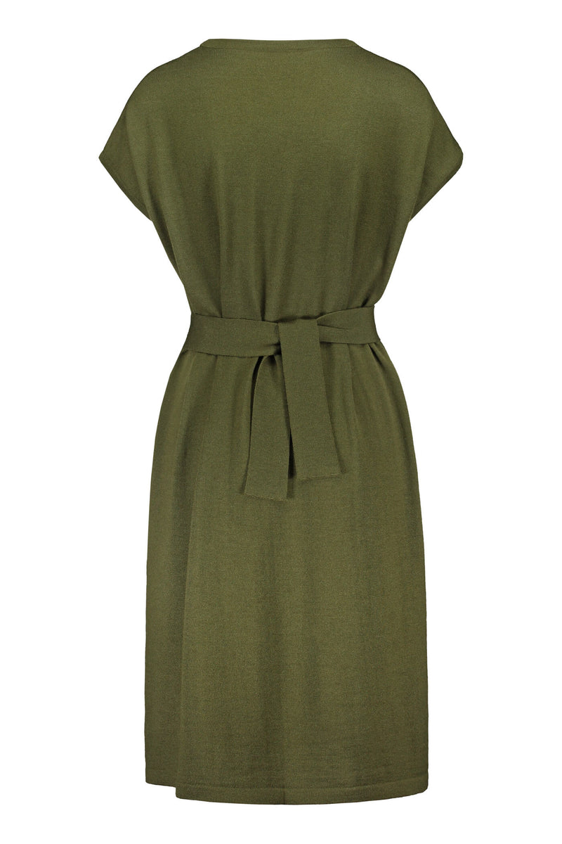 Celeste short sleeve knit dress pine green back