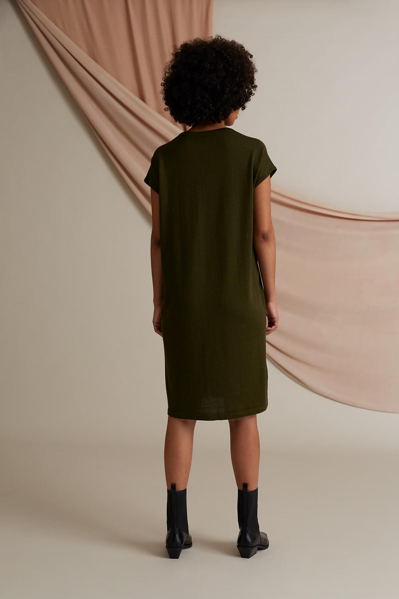 Celeste short sleeve knit dress pine green behind