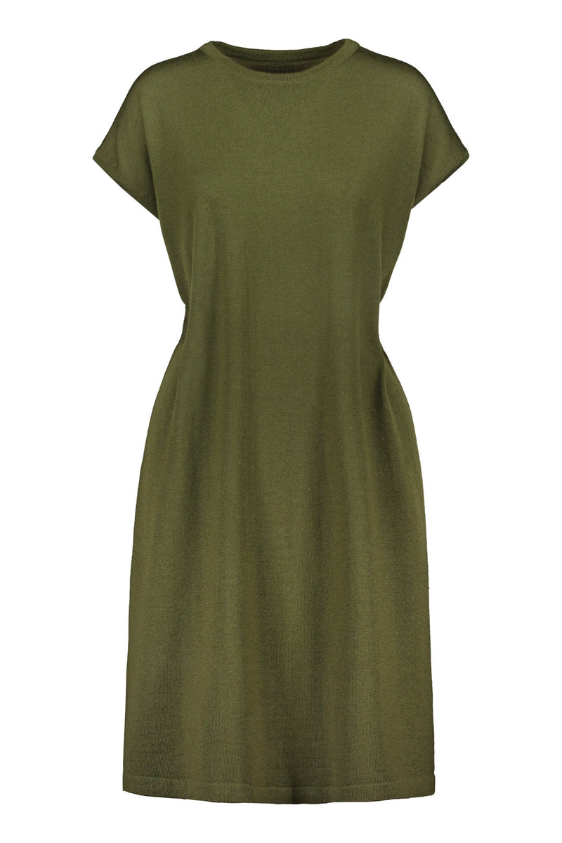 Celeste short sleeve knit dress pine green front