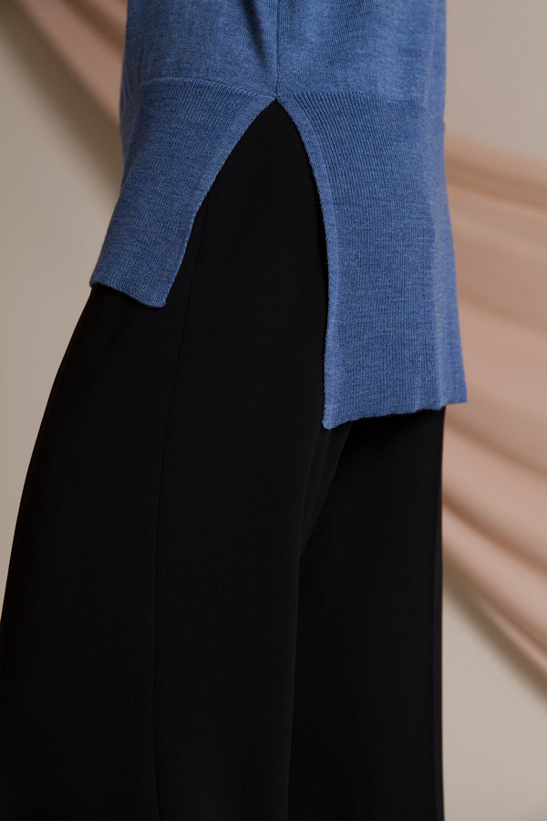 Claire loose fit jumper smokey blue detail