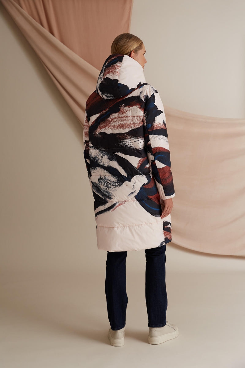 Coco patterned puffer coat blush multicolored behind