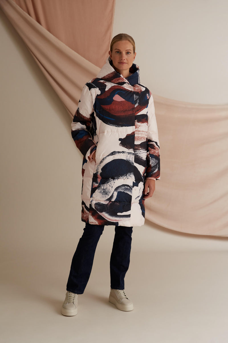 Coco patterned puffer coat blush multicolored