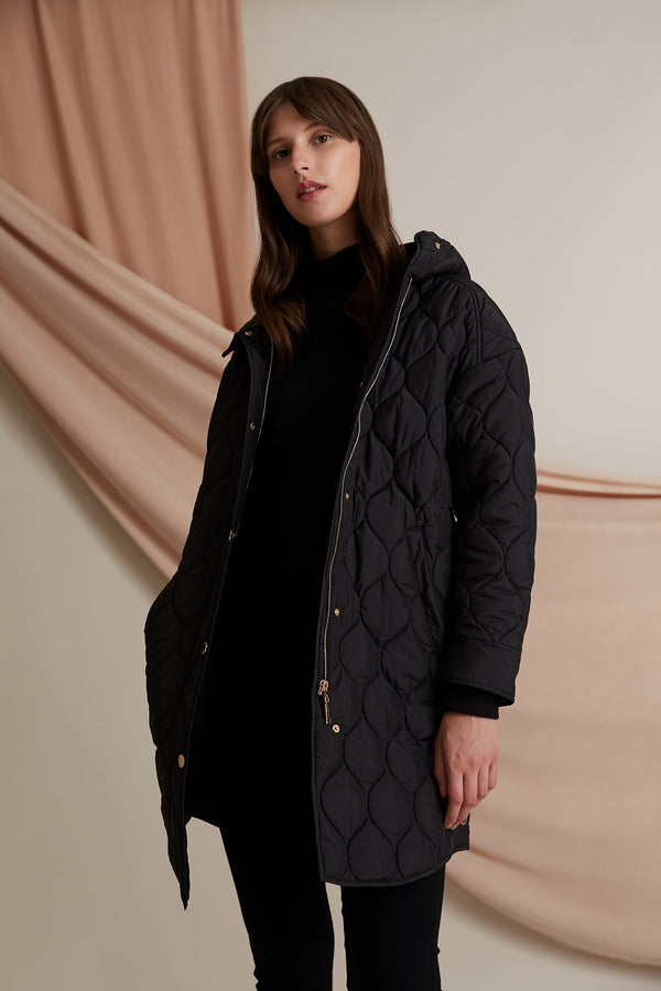 Cora hooded quilted coat black