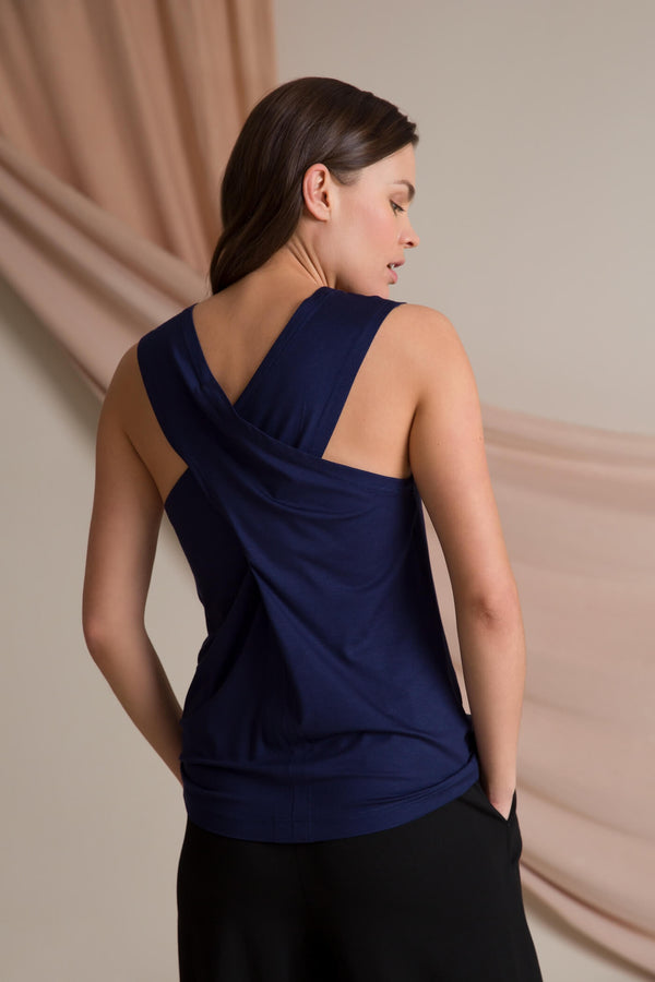 Cross back top dark blue