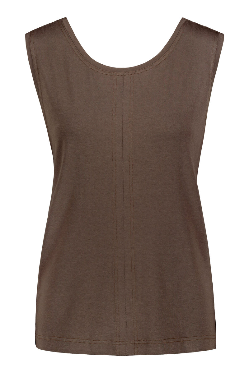 Cross back top dark brown front