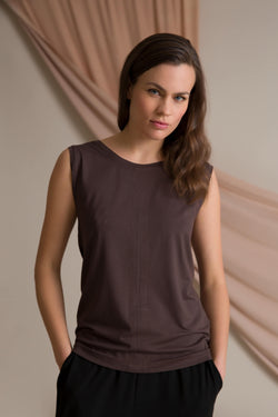 Cross back top dark brown
