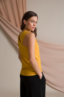 Cross back top dark yellow