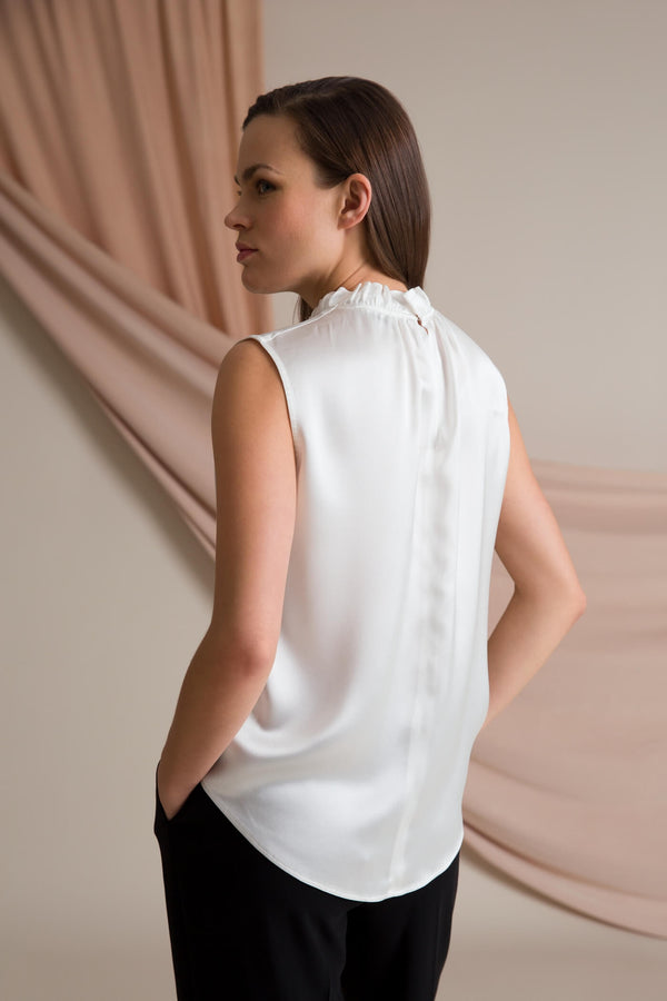 Darleen sleeveless blouse soft white behind