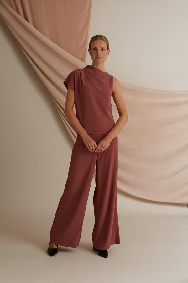 Dina draped viscose top marsala red Dawn pants