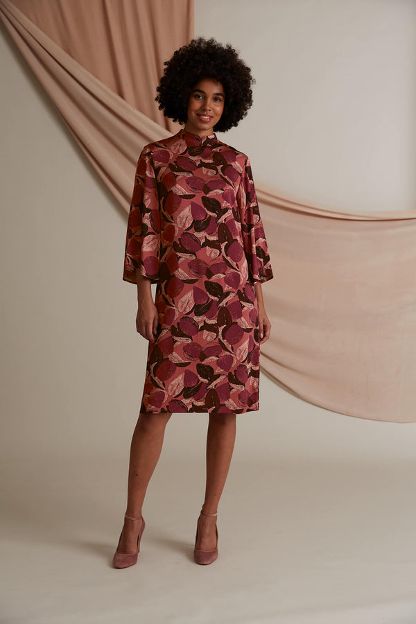 Dolores patterned dress burgundy marsala