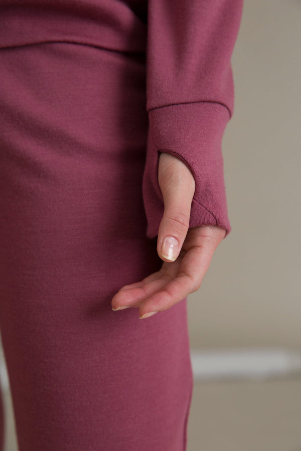 DOROTA Merino Wool Sweater marsala sleeve