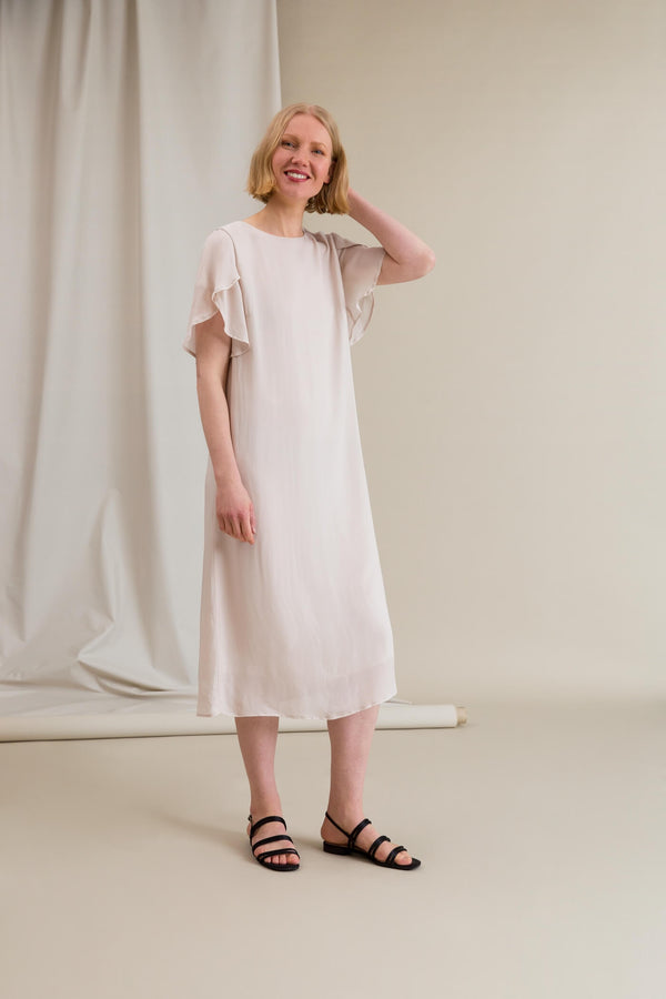EILEEN Chiffon Dress chalk side