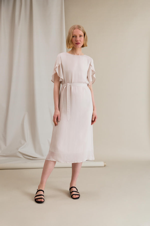 EILEEN Chiffon Dress chalk