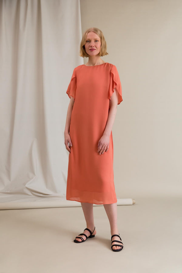 EILEEN Chiffon Dress papaya