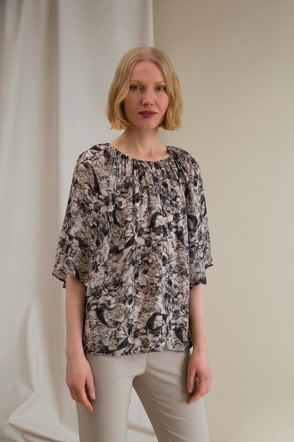 ELLEN Floral Chiffon Top chalk-black