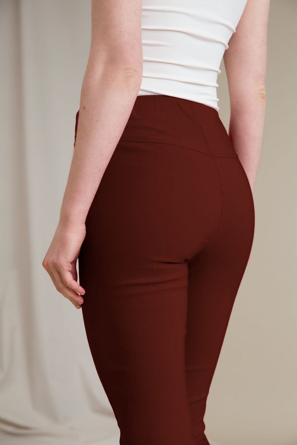 ELZA Stretchy Slacks dark terra behind